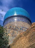 The Bibi Khanum was built by Timur the Great (1336-1405, r.1370-1405), also known as Tamerlane. The mosque was built in honour of his chief wife, Saray Mulk Khanum and was constructed on an epic scale.<br/><br/>  The building was financed from the spoils of a recent campaign to Delhi (1398) and built with the labour of 95 imported Indian elephants. The original 35m entry arch was flanked by 50m minarets that led into a court paved with marble and flanked with mosques.
